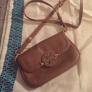 Tory Burch Tan Leather Mini Amanda Crossbody Bag
